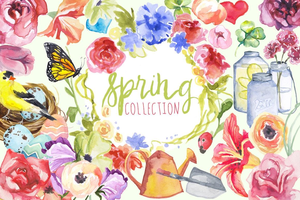 Watercolor Spring Collection Spring Clip art Spring