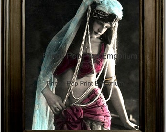 Belly Dancer Flapper Art Print 8 x 10 - Art Deco - Belly Dancing - Jazz Age - Gypsy - Bohemian