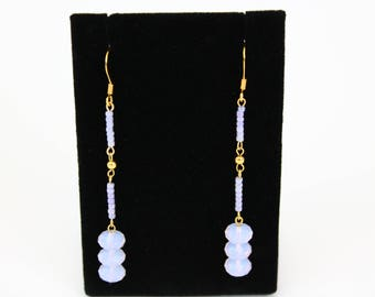 Violet Opal and 14K Gold plated Earrings