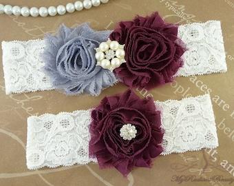Wedding Garter, Garter, Bridal Garter, Shabby Chiffon Rosette Gray Plum Garter, Garter set, Garter belt, Plum Garter, Lace Garter GTF0028PL