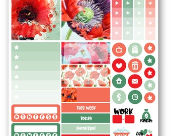 Ready to ship Poppies sampler weekly stickers kit, Suitable for Erin Condren vertical planner, Weekly planner stickers, Mini weekly kit