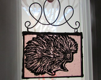 Porcupine Enamel Painted Art Pink Stained Glass Suncatcher Woodland Window Charm Home Decor Nature Lovers Gift