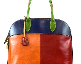 Vegetable Tanned Leather Handbag with Padlock