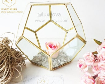 Glass Terrarium Dodecahedron, Geometric Glass Planter, Succulent Centerpiece,Wedding Decor, Terrarium Gift, Indoor Plants,Succulent Box Gift