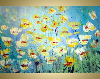 Original Modern Abstract Flowers Textured Impasto Oalette Knife Impressionist Oil Painting-ready to hang- white,yellow,blue
