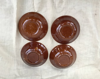 Mid Century Brown Drip Style Set of 4 Cereal Bowls,Soup Bowls,Country Kitchen
