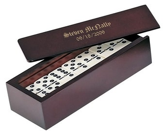 Domino Set with Custom Engraved Rosewood Box