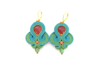 Teal Dangle Earrings, Handmade Soutache Earrings, Unique Earrings with Agate, Teal Earrings, Dangle Earrings, Soutache Earrings