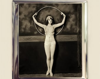Flapper Hoop Cigarette Case Business Card ID Holder Wallet Art Deco Follies 1920s Jazz Age Burlesque Glam Style Two