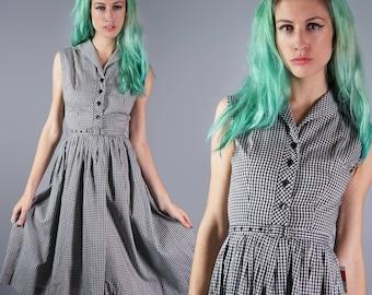 50s Cotton Gingham Dress Black and White Plaid Dress 1950s Day Dress Summer Dress Monogrammed Back