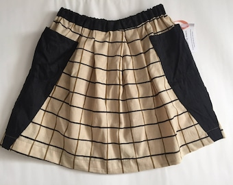 Checkered Cotton Skirt with Patch Pockets