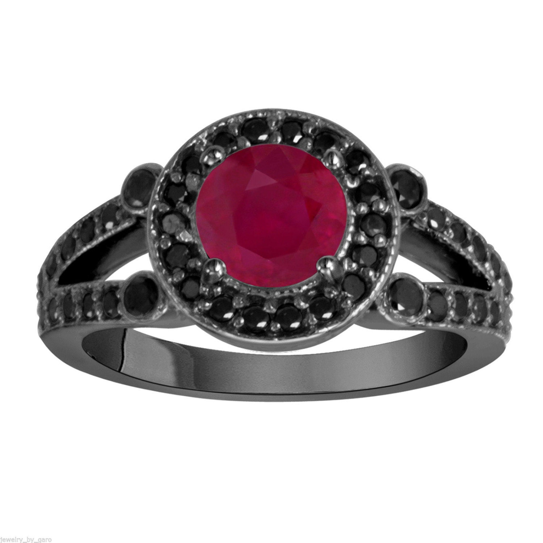 Red And Black Diamond Wedding Ring
