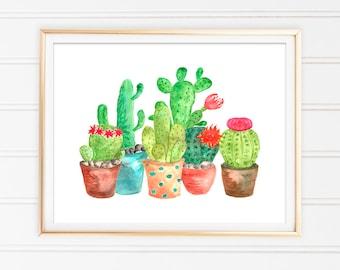 Cactus impression murale décor aquarelle Art Print cactus téléchargement numérique instantané Salon décor Cactus Cactus imprimable aquarelle
