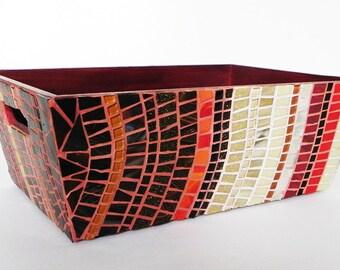 Decorative Mosaic  Storage  Box ,  Storage Container, Basket, Organizer, Versatile Storage, Medium Size in Red, Orange, Brown, Cream Colour.