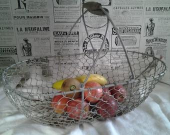 French vintage Iron Wire Basket...Egg Basket...Harvest Basket...Farmhouse decor...Rustic basket...French iron wire...Country kitchen Decor..