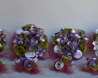 Wedding Paper Bouquet Set Package with Boutonnieres - purple green and white