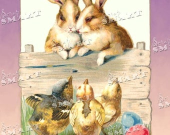Easter Bunnies, Chicks, and Easter Eggs- in a full collage sheet digital download - DLESTR06