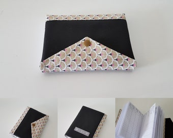 Agenda 2018 gold Japanese cotton and faux black leather