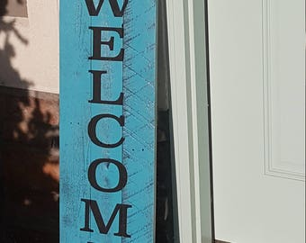 Welcome and Let it Snow double sided wood sign-fence posts-hand painted-welcome sign board, modern calligraphy, uplifting words, kindness