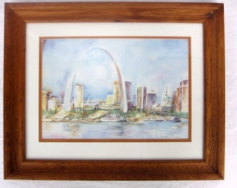 Gretchen Brigham Signed Limited Edition St Louis Arch Riverfront Print Framed