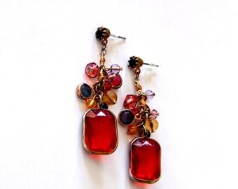 Long Red Earrings, Drop Dangle Cluster Earrings, Multi Color Earrings, Long Dangly Earrings, Valentine's Day Jewelry