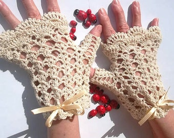 Crocheted Cotton Gloves XL 20% OFF Ready To Ship Victorian Fingerless Summer Women Wedding Evening Lace Hand Knitted Bridal Party Ivory B7