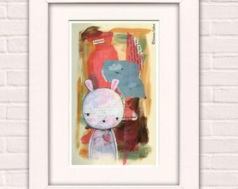 Art for Kids, Art for Girls, Mixed Media Painting, Art For Children, Wall Art  For Nursery, Kawaii Art - 'Augustus' by Emma Talbot