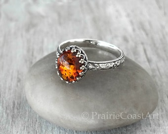 Amber Ring Sterling Silver - Sterling Silver Baltic Amber Ring - Handcrafted Artisan Silver Ring