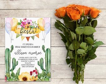 Fiesta Bridal Shower Invitation, Cactus Bridal Shower Invitation, Fiesta Invitation,Baby Shower,Cinco De Mayo,Watercolor, Printable No. 1036