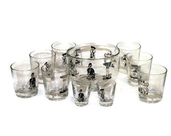 10 Piece Barware Set: Ice Bowl, 7 Rocks Glasses, and 2 Shot Glasses Illustrated and Signed by Francis Dahl
