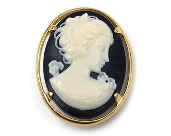 Napier Cameo Brooch - Faux Onyx, Faux Shell, Plastic Cameo, Napier Jewelry, 1970s Jewelry, Victorian Brooch, Vintage Cameo Brooch