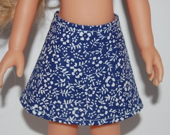 """Blue/White floral A-Line Skirt Doll Clothes Corolle 13"""" Les Cheries 14"""" Hearts for Hearts Betsy McCall  tkct931"""