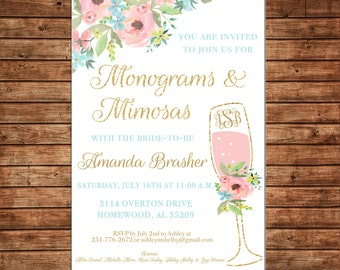 Invitation Watercolor Monograms Mimosas Watercolor Floral Shower - Can personalize colors /wording - Printable File or Printed Cards