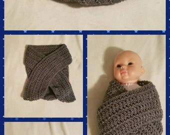 Crochet infant swaddle blanket/cocoon wrap