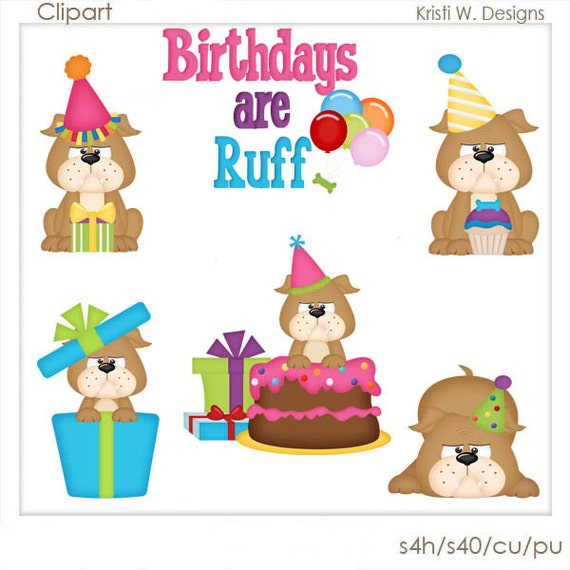 digital scrapbooking clipart birthdays are ruff rh etsy com free clipart for birthdays celebration free clipart for birthdays celebration