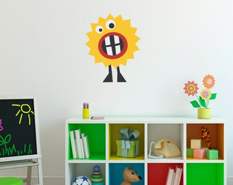Monster Decal - Yellow Monster Wall Decor - Children Wall Decals - Printed Decal - 1