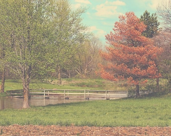 Bridge Color Photo Print { orange, green, sunshine, trees, pond, landscape, sky, clouds, wall art, macro, nature & fine art photography }