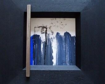 Sea Blue-3pieces trim in, monotype, art printing, art framing M. Edelstah, l original print, art