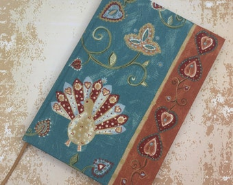 2018-2019 Academic A5 Week to View Diary Hand Covered in a beautiful contemporary Peacock and Elephant fabric