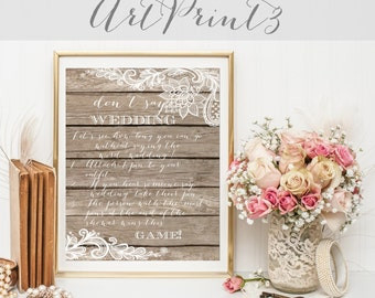 Rustic Bridal Shower Don't Say Wedding Game, Bridal Clothes Pin Game, Wood&Lace Don't Say Bride Game, Fun Bridal Shower Game,Clothespin Game