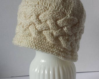 Adult Woman's Cabled Hat in Off-White