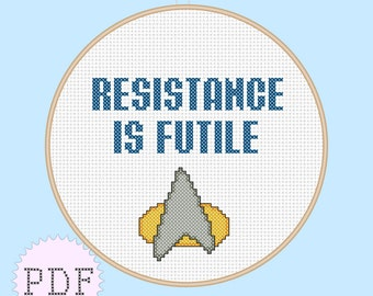 INSTANT DOWNLOAD Geeky Cross Stitch PDF Pattern Star Trek