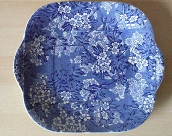 1930s Leighton Pottery 'May Blossom' Blue and White Chintz Cake Plate
