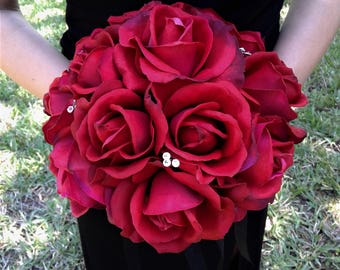 Red Wedding Bouquet-Red Real Touch Rose Bridal Bouquet With Matching Boutonniere