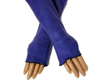 Arm Warmers Fingerless Gloves Purple Fleece Wrist Hand Warmers, Gift For Her, Handmade Harry Potter, Halloween Christmas Gift Women Hanukkah