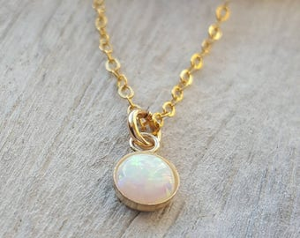 Opal and gold necklace opal gold filled chain necklace. minimal charm . White Opal minimal jewelry