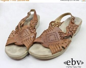 HUARACHE Sandals Brown Leather Sandals Vintage 90s Leather Shoes Size 8.5 W Brown Leather Shoes Hippie Shoes Comfortable Sandals