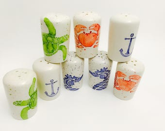 Salt and Pepper Shakers. Salt. Pepper. Turtle. Crab. Seahorse. Lobster. Anchor. Shakers. Circles. Dots. Condiment. Handmade by Sara Hunter