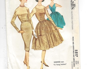 1960s McCall's 5517 Sheath Dress and Back Wrapped Jumper Dress, UNCUT Sewing Pattern, Junior Size 13 Bust 33