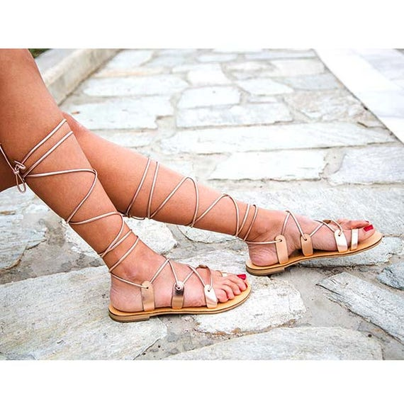 sandals sandal strappy greek up sandals leather sandals gold rose Lace genuine pqCUfwnBv